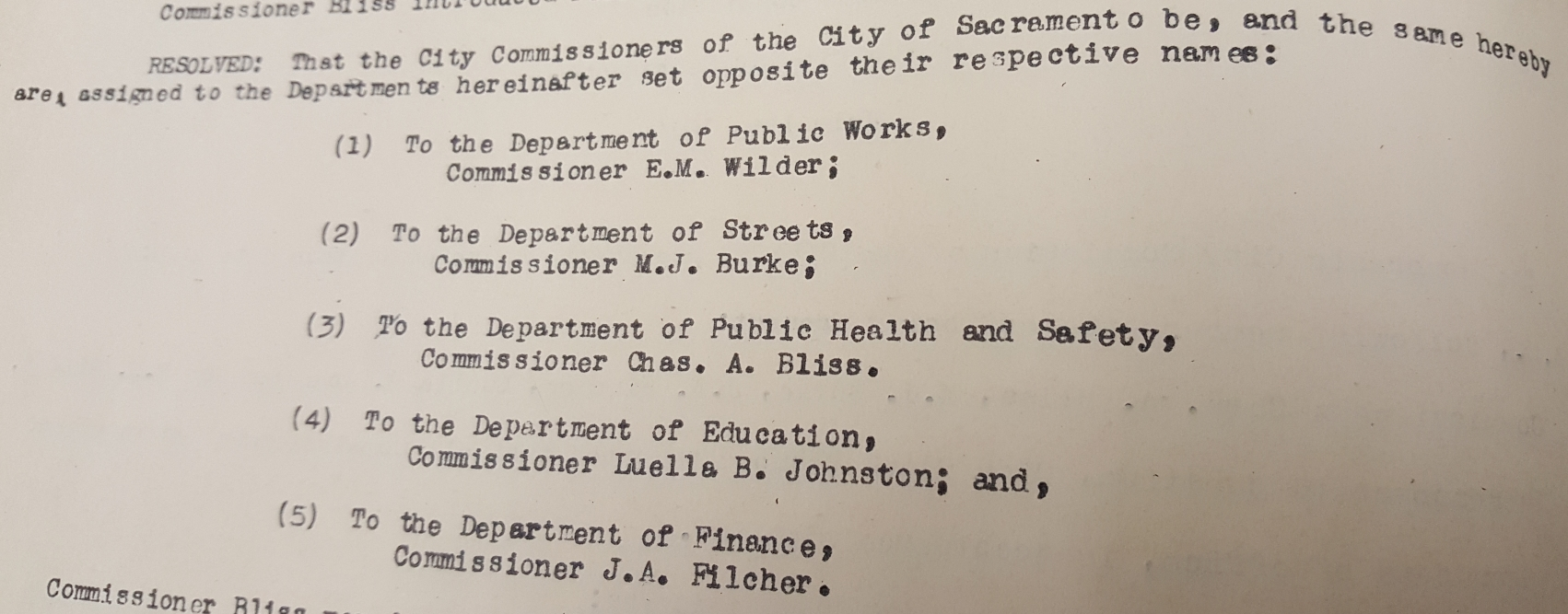 Commission Assignments - 1912
