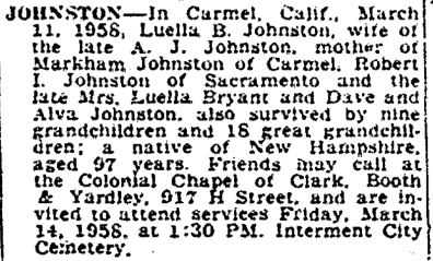 Johnston Obit - Bee - 3-12-1953